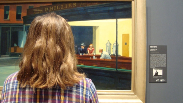 Colleen looking at George Hopper's Nighthawks