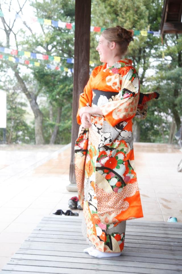 Molly laughing in Kimono
