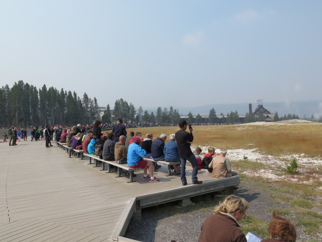 So many people watching Old Faithful